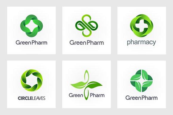 Green Pharmacy Logo Set