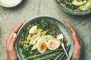 Quinoa, kale, green beans, avocado