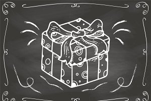 Hand Drawn Gift on Chalkboard Vector