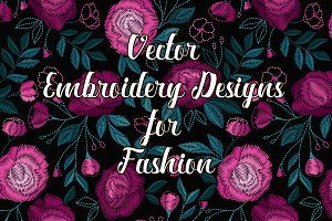 Vector trendy embroidery design
