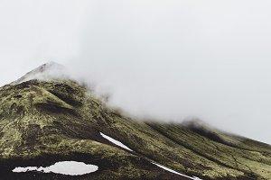 Foggy Mountain Landscape in Fall