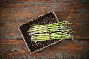 Fresh green asparagus bunches