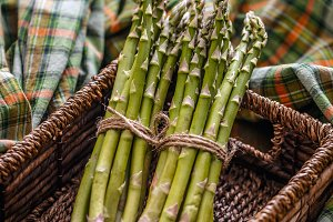 Bunch of fresh raw asparagus