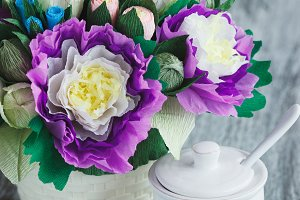 Bouquet from colored paper flowers