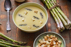 Bowl of asparagus soup