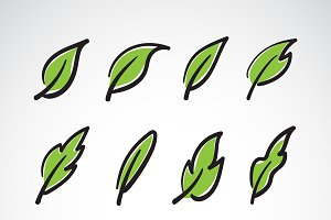 Vector leaves icon set.