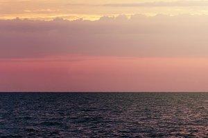 beautiful sea with warm sunrise
