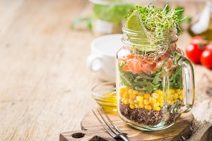 salad in a mason jar