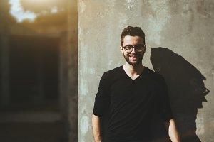 Portrait of smiling man in glasses
