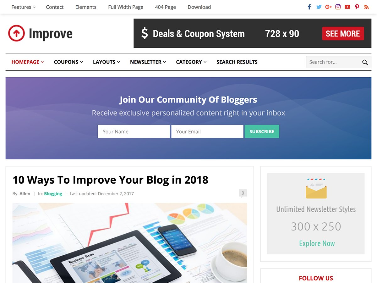 Improve pro blog coupon theme wordpress blog themes creative improve pro blog coupon theme wordpress blog themes creative market fandeluxe Image collections