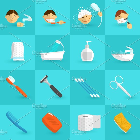 Personal Hygiene Icons Flat Set