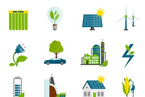 Eco energy flat icons set