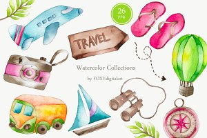 Watercolor Travel Clipart