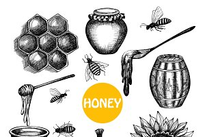Honey production black icons set