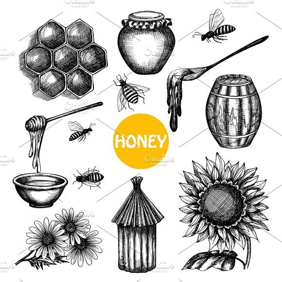 Honey Production Black Icons Set