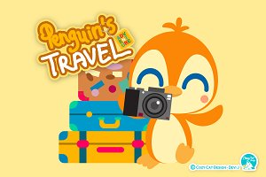 Digital Clipart Penguin's Travel
