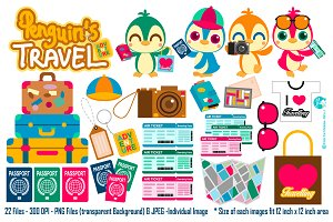 Penguin Travel Digital Clipart