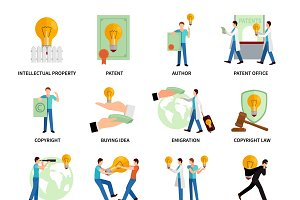 Intellectual property flat icons set