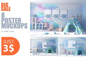 8 Poster Mockups in child room