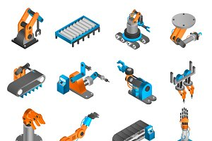 Industrial robot isometric icons set