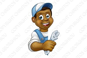 Mechanic Plumber Cartoon Character
