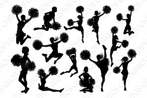 Silhouette Cheerleaders