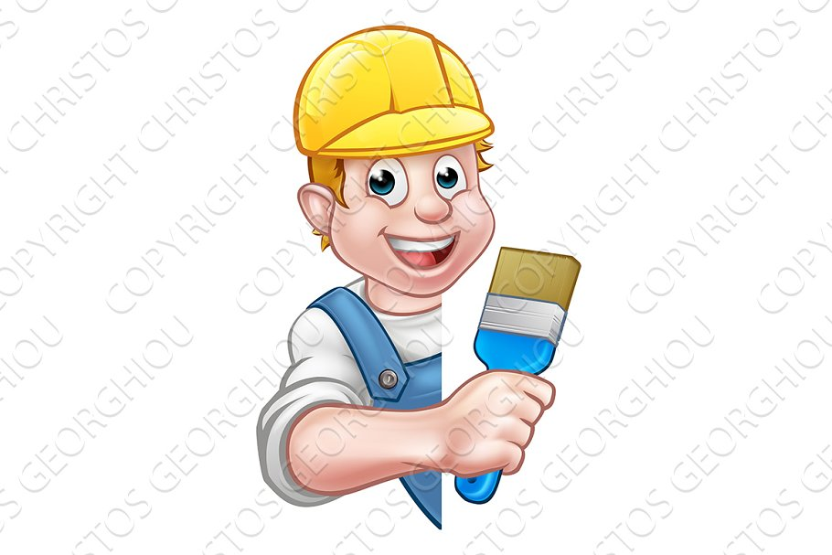 Painter and Decorator Cartoon Handym