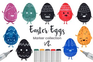 Easter Eggs Set Hand Drawn + Vector