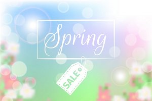 Spring sale floral background