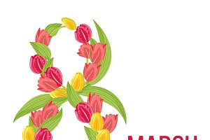 Eight march design for greeting card