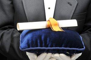 Man in Tux Diploma Velvet Pillow