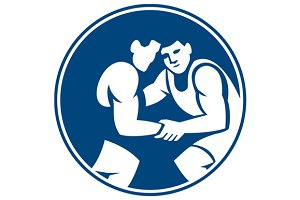 Wrestlers Wrestling Circle Icon