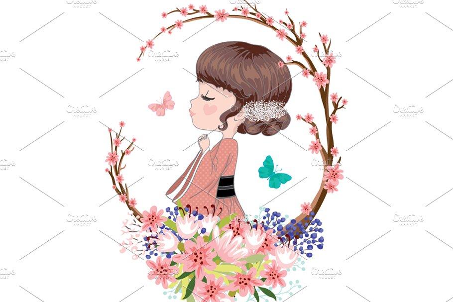 Praying girl character - cute girl