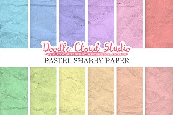 Pastel Shabby digital paper pack