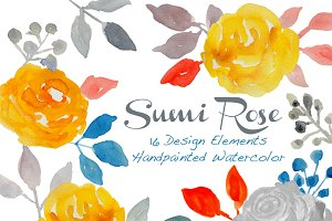 Watercolor Roses & Floral elements