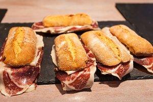 Serrano ham sandwiches