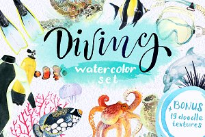 Diving watercolor set