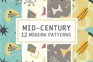12 Mid Century 1950s Atomic Patterns