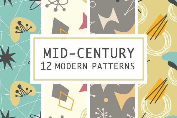 12 Mid Century 1950s Atomic Pattern…