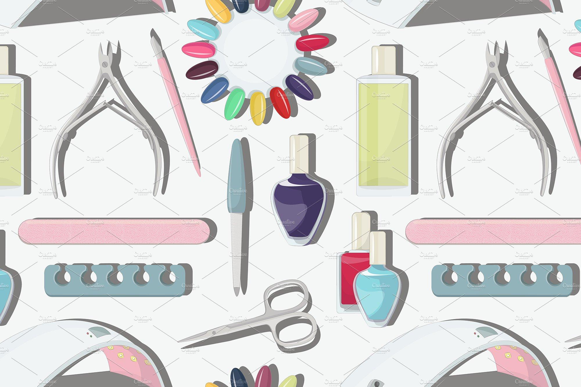Nail salon set pattern ~ Graphic Patterns ~ Creative Market