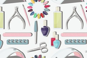 Nail salon set pattern