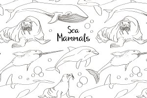 Sea mammals animal collection icons