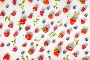 flat lay trendy pattern with berries
