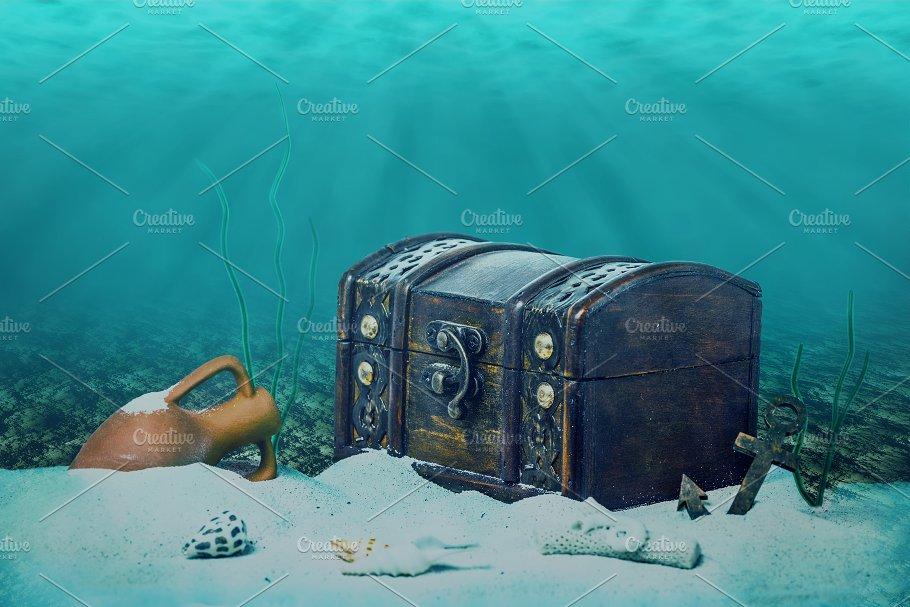 treasure chest submerged underwater arts entertainment photos