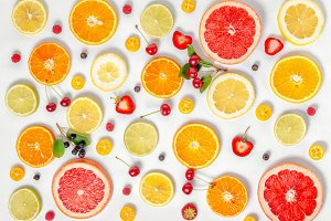 flat lay trendy pattern citrus fruit