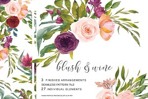 Watercolor Blush Wine Flowers Clipar