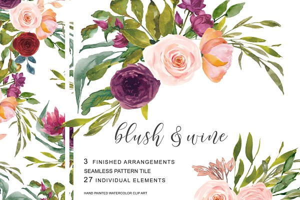 Watercolor Blush Wine Flowers Clipa…