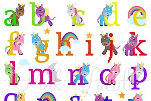 Lowercase Unicorn Alphabet Clipart