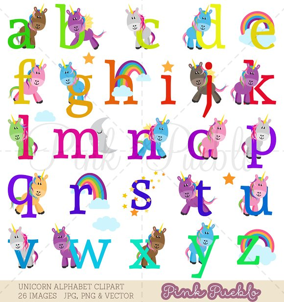 Lowercase Unicorn Alphabet Clipart