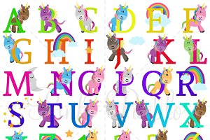 Uppercase Unicorn Alphabet Clipart